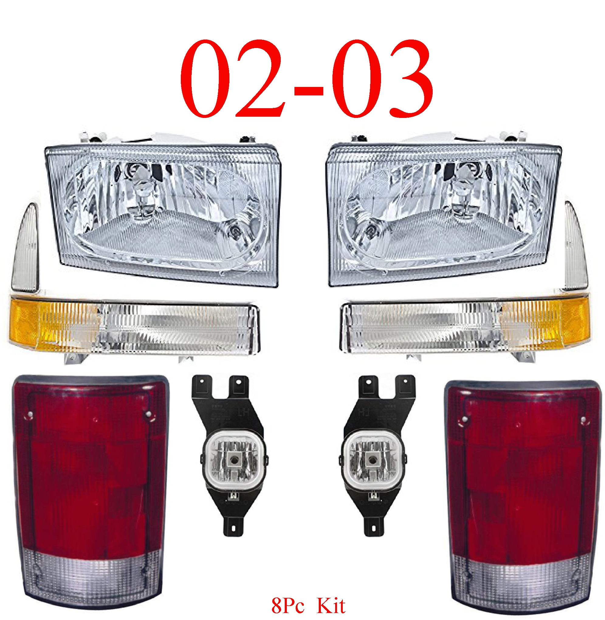 02-03 Ford Excursion 8Pc Head, Park, Fog & Tail Light Kit