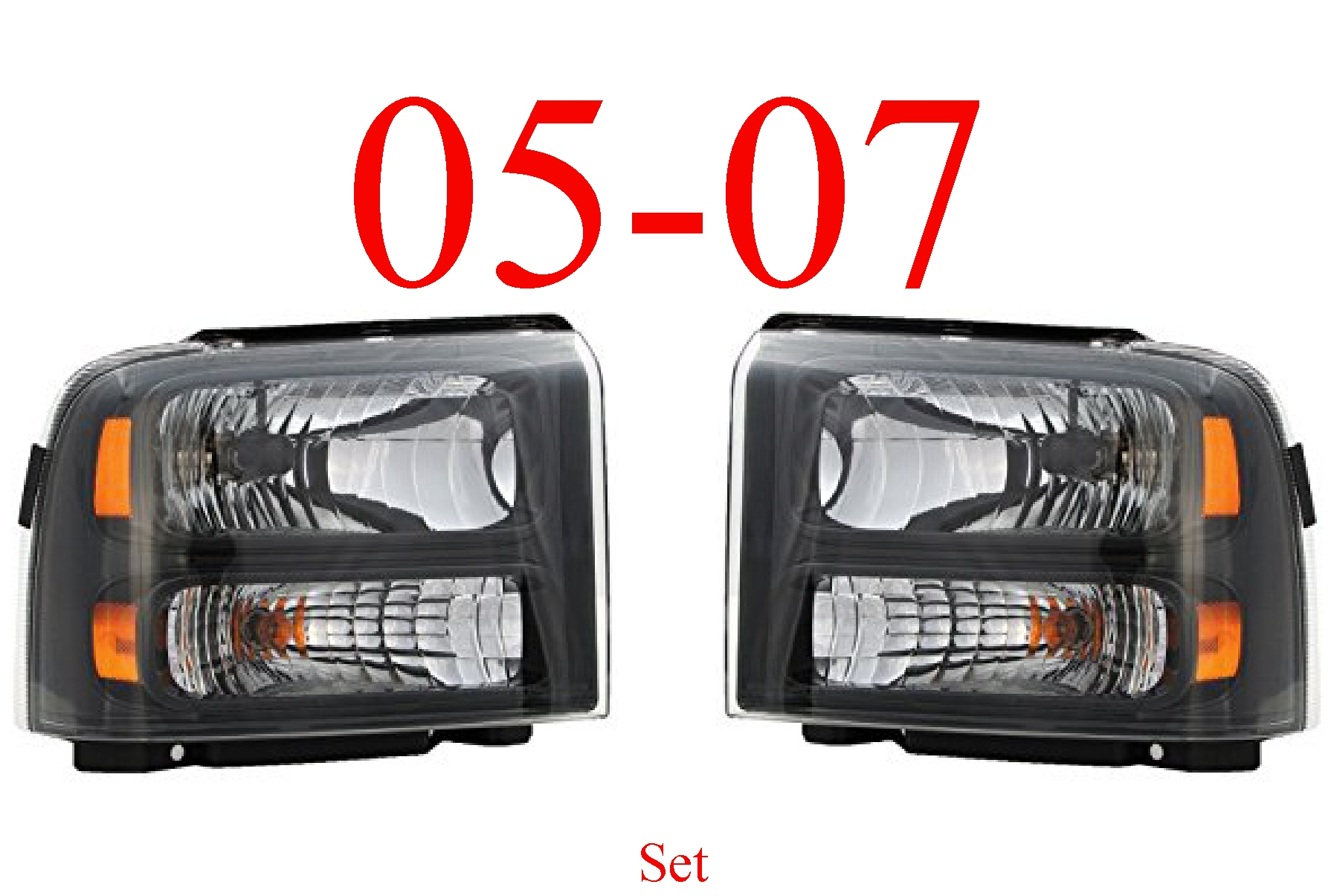 05 Ford Excursion Head Light Set Harley Davidson Black