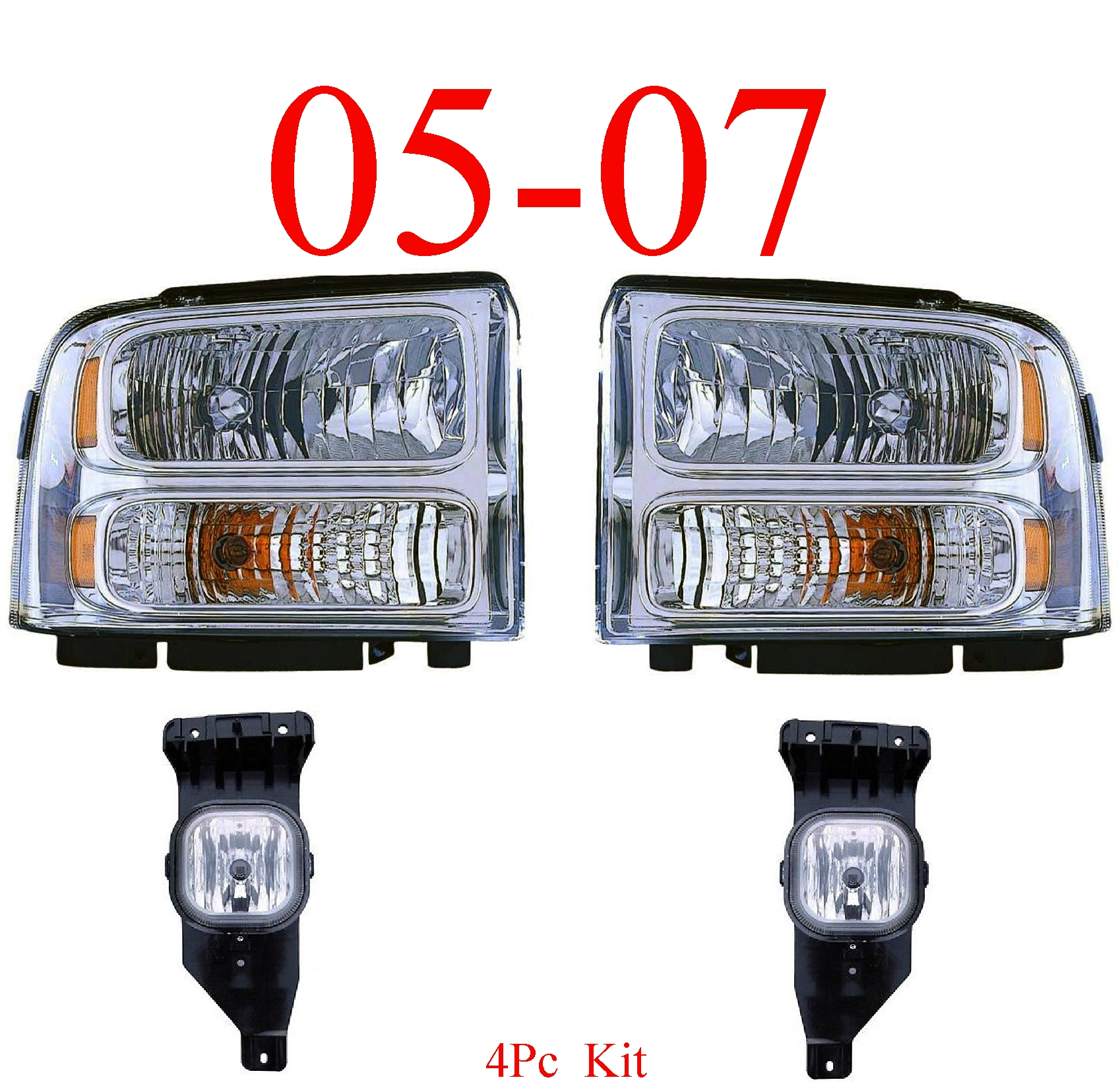 05 Ford Excursion 4Pc Chrome Head Light & Fog Light Kit