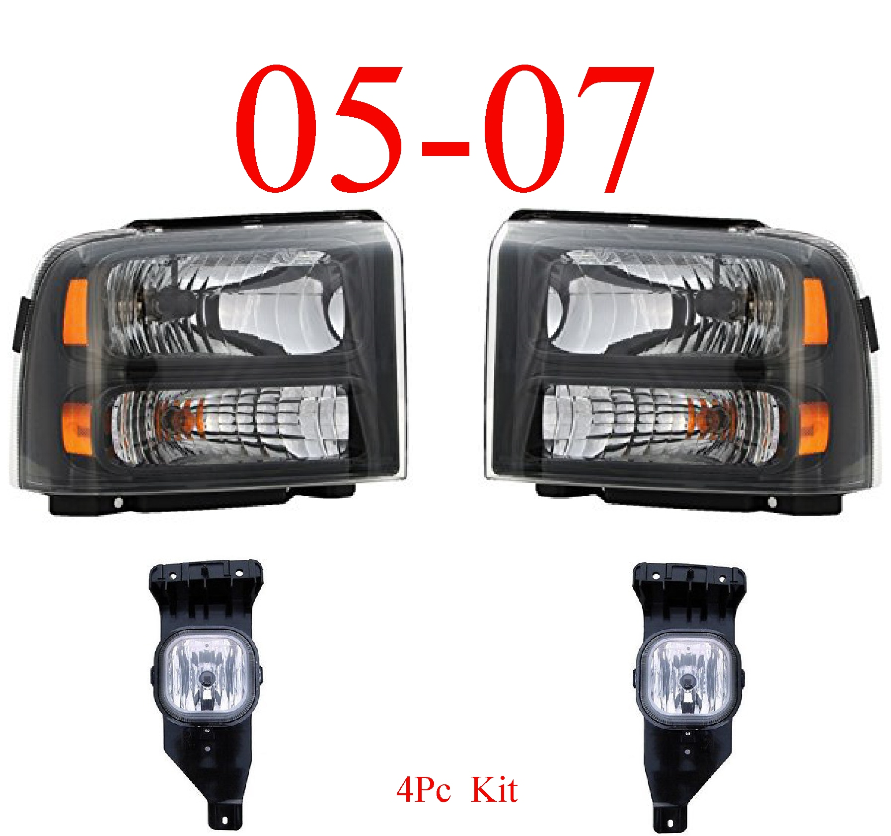 05 Ford Excursion 4Pc Head Light & Fog Light Kit Harley Davidson