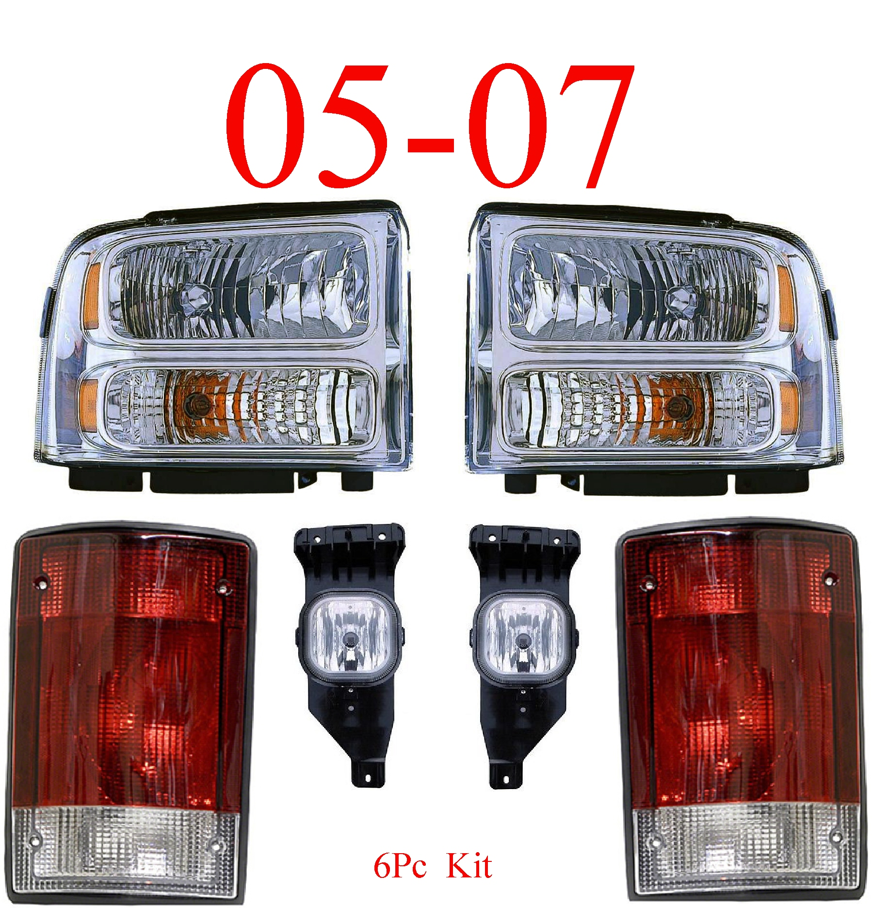 05 Ford Excursion 6Pc Head Light, Fog Light, Tail Light Kit